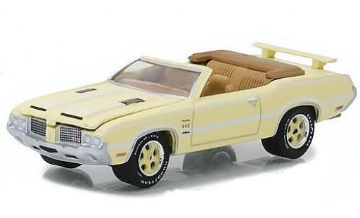 Oldsmobile Cutlass 1/64 Greenlight 442 jaune/blanche 1972 miniature