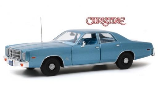 Plymouth Fury 1/18 Greenlight metallise bleue Christine 1977 Detective Rudolph Junkins miniature