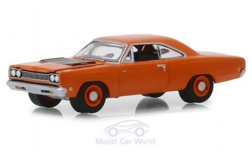Plymouth Road Runner 1/64 Greenlight HEMI orange/matt-noire 1968 miniature