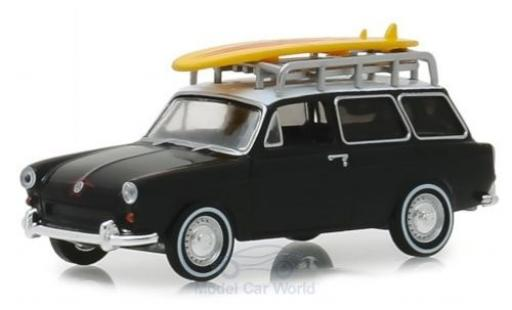 Volkswagen 1600 1/64 Greenlight Variant matt-black/white 1965 diecast