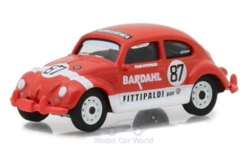 Volkswagen Beetle 1/64 Greenlight hellrouge/blanche 1967 Bardahl Team Fittipaldi miniature