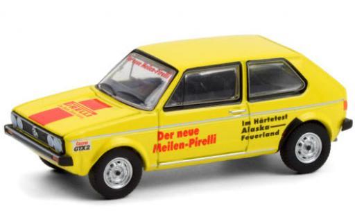 Volkswagen Golf 1/64 Greenlight I amarillo/Dekor Pirelli 1974 Härtetest: Alaska - Feuerland coche miniatura