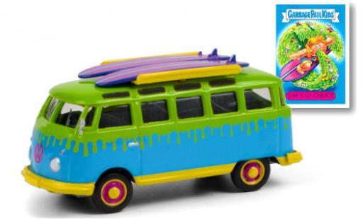 Volkswagen T1 1/64 Greenlight Samba azul/verde GPK - Garbage Pail Kids 1964 mit Surfboards auf Dachgepäckträger coche miniatura