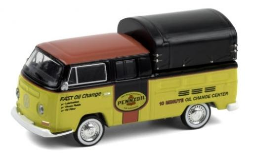 Volkswagen T2 1/64 Greenlight Double Cab Pickup Pennzoil 1968 DoKa-plateforme diecast model cars