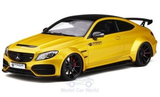 Mercedes Classe C 1/18 GT Spirit C63 AMG Coupe Prior Design PD65CC metallise jaune/noire miniature