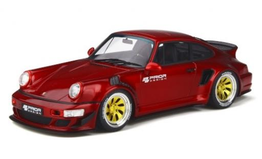 Porsche 964 1/18 GT Spirit 911  Prior Design Custom Widebody metallise rouge/Dekor miniature