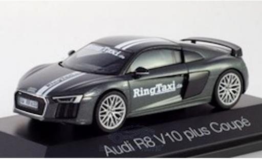 Audi R8 1/43 Herpa V10 Plus metallise grise/Dekor RingTaxi Nürburgring miniature
