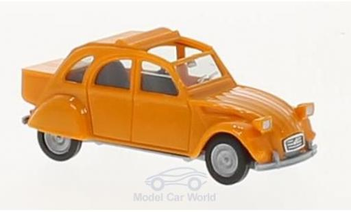 Citroen 2CV 1/87 Herpa 2 CV orange mit Queue diecast model cars