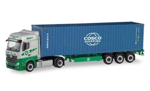 Mercedes Actros 1/87 Herpa 6x2 Bigspace EKB / Cosco Container-Sattelzug coche miniatura