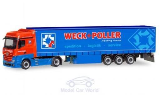 Mercedes Actros 1/87 Herpa Bigspace Weck + Poller Gardinenplanen-Sattelzug diecast