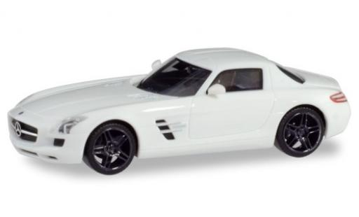 Mercedes SLS 1/87 Herpa AMG (C197) white avec noire jantes diecast model cars
