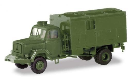 Magirus S 7500 1/87 Herpa verte Bundeswehr wagon conteneur-Truck miniature