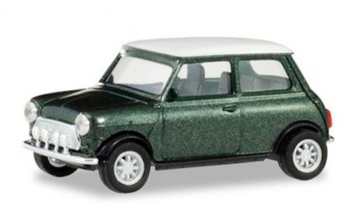 Mini Cooper 1/87 Herpa métallisé verte/blanche mit Zusatzscheinwerfern miniature