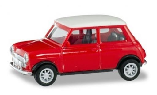 Mini Cooper 1/87 Herpa rouge/blanche mit Zusatzscheinwerfern miniature