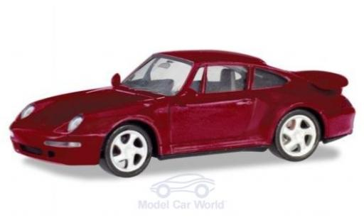 Porsche 993 Turbo 1/87 Herpa 911  metallise rouge miniature