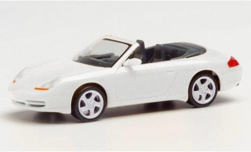 Porsche 996 1/87 Herpa 911  Carrera 4 Cabriolet metallise white diecast model cars