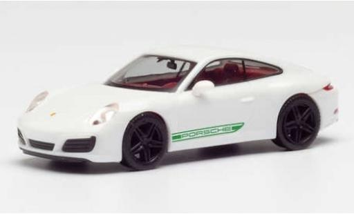 Porsche 911 1/87 Herpa Carrera blanche/verte avec noire jantes miniature
