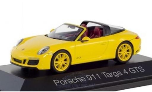 Porsche 992 Targa 1/43 Herpa 911 4 GTS  jaune miniature