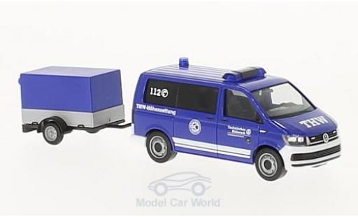 Volkswagen T6 1/87 Herpa Bus THW Korbach / Höhenrettung mit Pritschenanhänger miniature