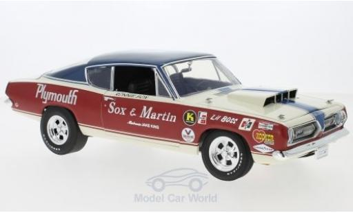 Plymouth Barracuda 1968 1/18 Highway 61 blanche/rouge Sox & Martin miniature