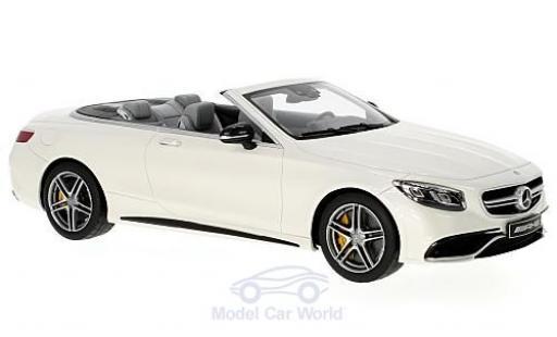Mercedes Classe S 1/18 GT Spirit AMG S 63 Cabriolet blanche miniature