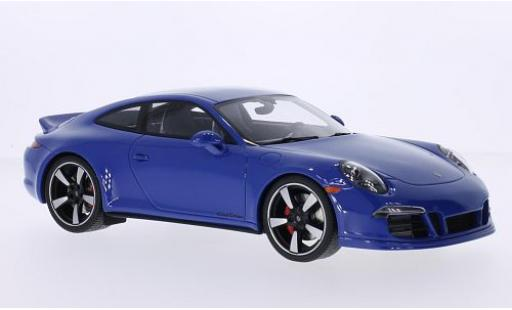 Porsche 991 GTS 1/18 I GT Spirit 911  Carrera Club Coupe bleue 60 Years Club of America avec Vitrine miniature