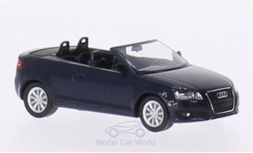 Audi A3 1/87 I Herpa Cabriolet (8P) métallisé bleue 2008 noirees Interieur miniature