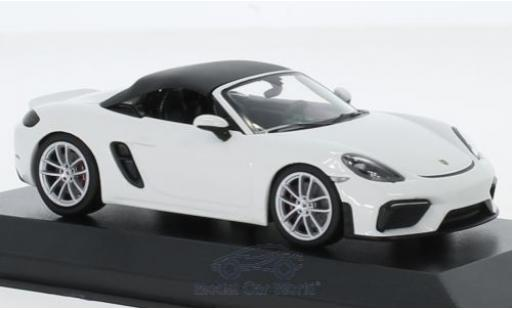 Porsche 718 1/43 I Minichamps (982) Boxster Spyder blanche 2019 miniature