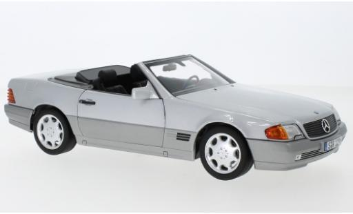 Mercedes 500 1/18 I Norev SL (R129) grey 1988 avec Softtop et Hardtop diecast model cars