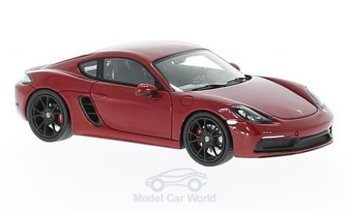 Porsche Cayman 1/43 Spark 718 GTS rouge miniature