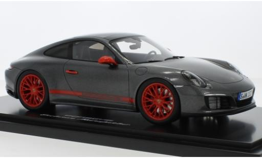Porsche 991 4S 1/18 I Spark 911 ( II) Carrera metallise grey/red avec Vitrine diecast model cars