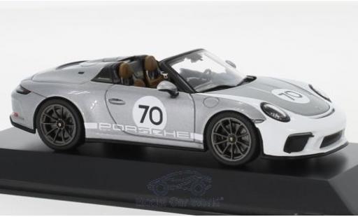 Porsche 992 Speedster 1/43 Spark 911 (991 II) grey/white 2019 #70 Heritage Design Package diecast model cars