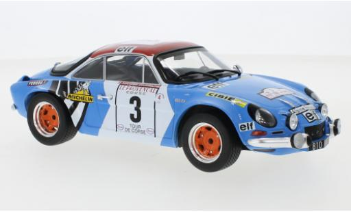 Alpine A110 1/18 IXO Renault No.3 Tour de Corse 1973 B.Darniche/A.Mahe miniature