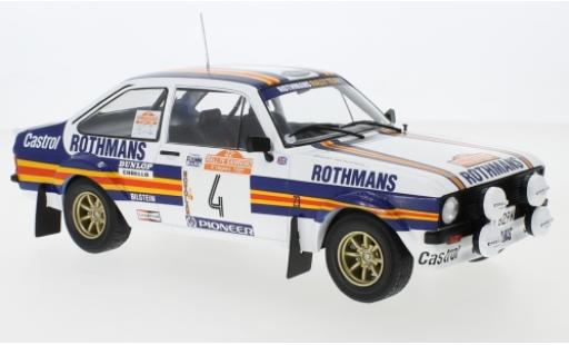 Ford Escort 1/18 IXO MKII RS 1800 No.4 Rothmans Rallye WM Rally San Remo 1980 A.Vatanen/D.Richards diecast model cars
