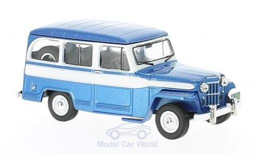 Jeep Willys 1/43 IXO Station Wagon metallise bleue/blanche 1960 miniature