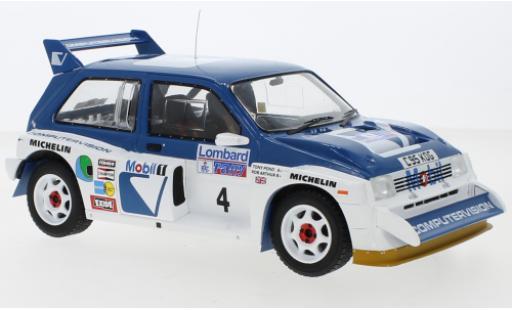 MG Metro 1/18 IXO 6R4 RHD No.4 RAC Rally 1986 T.Pond/R.Arthur miniature