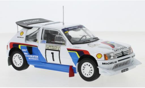 Peugeot 205 1/24 IXO T16 E2 No.1 Rallye WM 1000 Lakes Rally 1986 T.Salonen/S.Harjanne coche miniatura