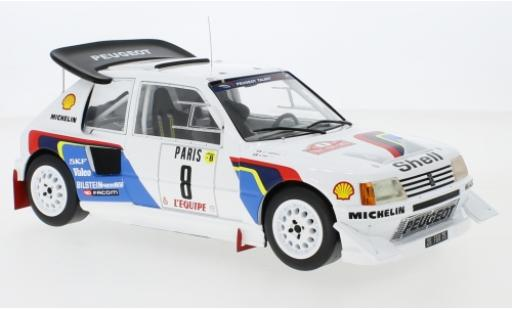 Peugeot 205 1/18 IXO T16 E2 No.8 Talbot Sport Rallye WM Rallye Monte Carlo 1986 B.Saby/J-F.Fauchille diecast model cars