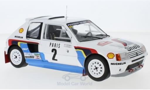 Peugeot 205 1/18 IXO T16 No.2 Rallye WM Rallye Monte Carlo 1985 A.Vatanen/T.Harryman miniature