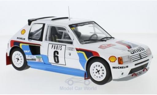 Peugeot 205 1/18 IXO T16 No.6 Rallye WM Rallye Monte Carlo 1985 T.Salonen/S.Harjanen miniature