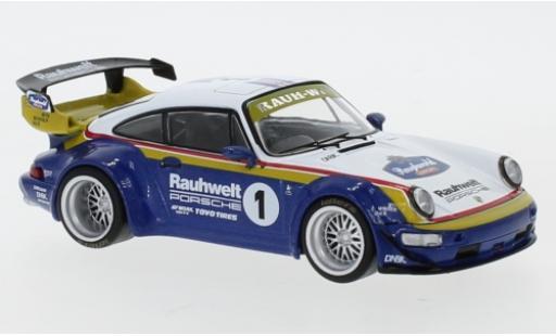 Porsche 964 RWB 1/43 IXO blanche/bleue RAUH-Welt miniature