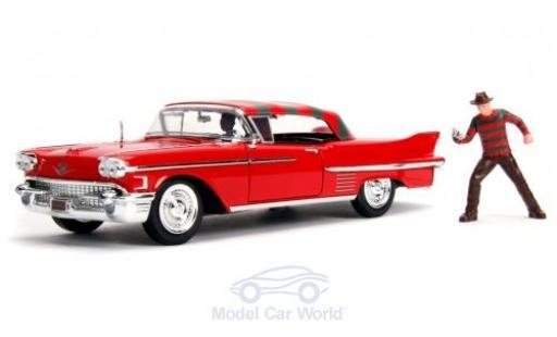 Cadillac Series 62 1/24 Jada Toys Toys Toys Toys rouge/Dekor A Nightmare on Elm Street 1958 mit Figuren miniature