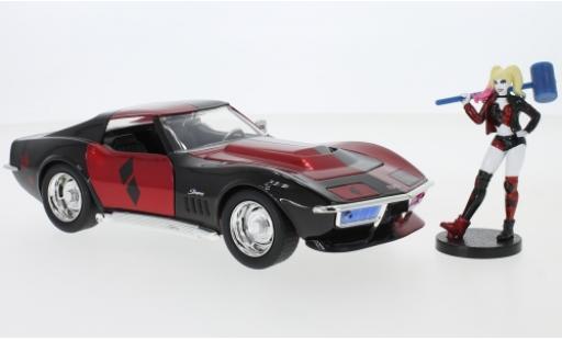 Chevrolet Corvette 1/24 Jada Toys Toys Toys Toys Stingray Harley Quinn 1969 avec figurine diecast model cars
