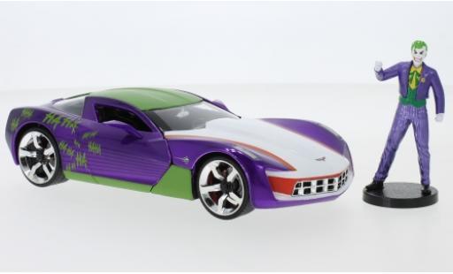 Chevrolet Corvette 1/24 Jada Toys Toys Toys Toys Stingray Joker 2009 avec figurine diecast model cars