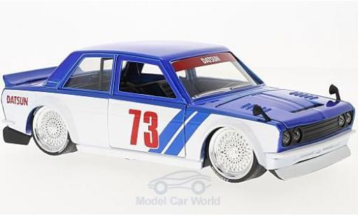 Datsun 510 1/24 Jada metallic-bleue/blanche 1973 Widebody miniature