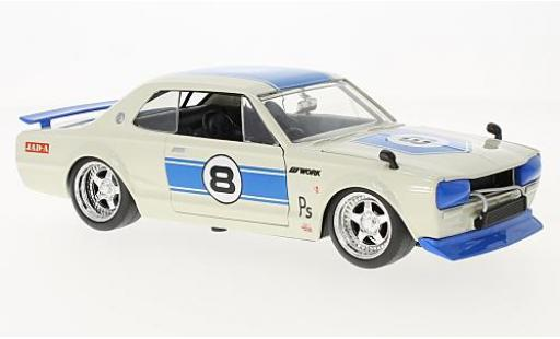 Nissan Skyline 1/24 Jada Toys 2000 GT-R (KPGC 10) bianco/blu RHD 1971 modellino in miniatura