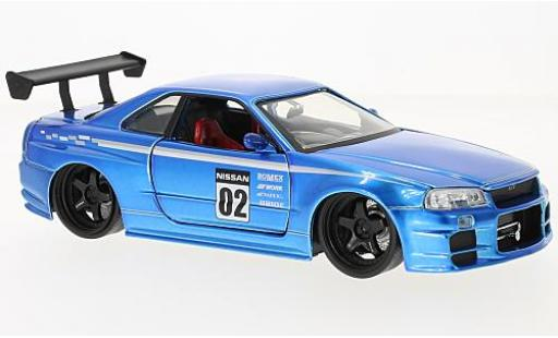 Nissan Skyline 1/24 Jada Toys GT-R (R34) metallise azul RHD 2002 coche miniatura