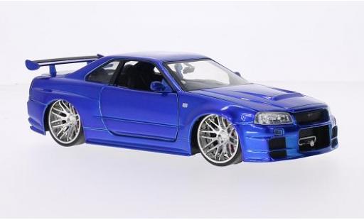 Nissan Skyline 1/24 Jada GT-R (R34) Tuning metallise blau RHD Fast & Furious 2002 tuning modellautos