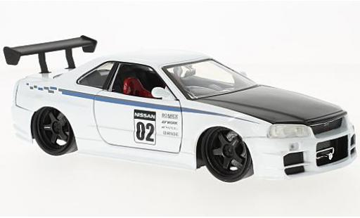 Nissan Skyline 1/24 Jada Toys GT-R (R34) white/black 2002 diecast model cars