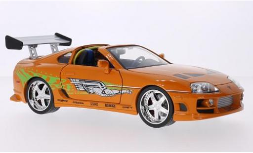 Toyota Supra 1/18 Jada Toys Tuning metallise orange/Dekor Fast & Furious 1995 Brian O'Conner diecast model cars